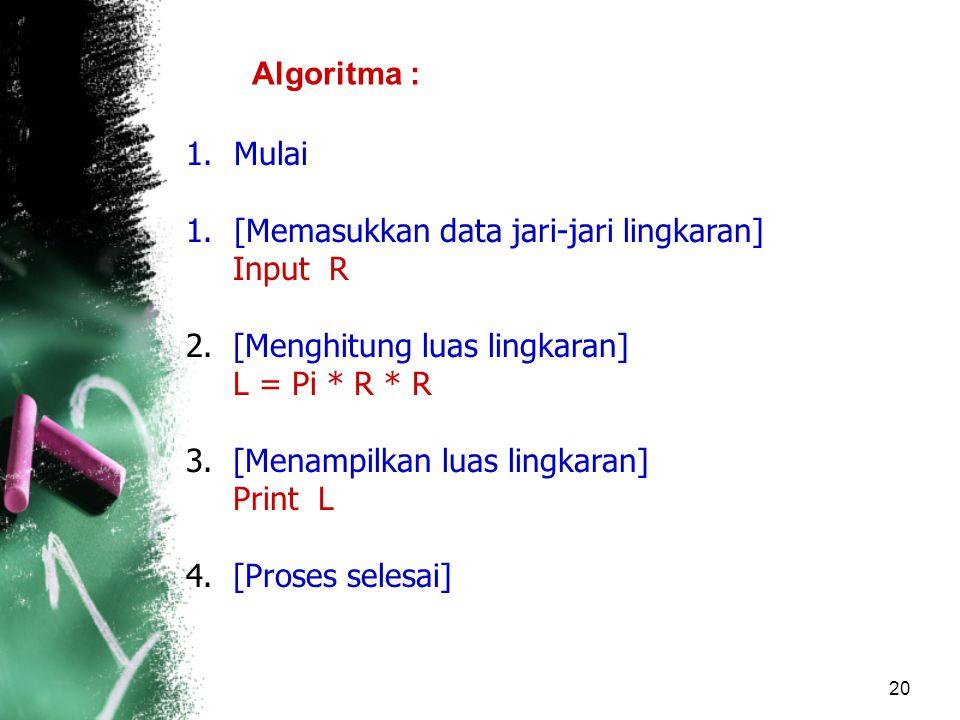 Algoritma : Mulai. [Memasukkan data jari-jari lingkaran] Input R. 2. [Menghitung luas lingkaran]